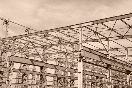 steelwork: The steel structure under the sky Stock Photo