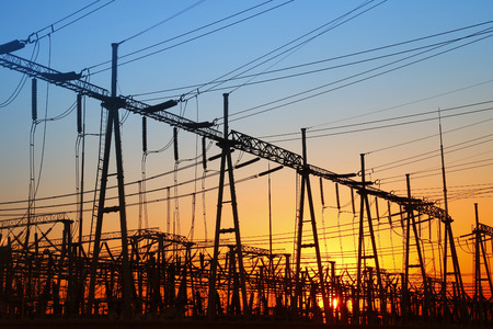 power distribution: power distribution substation in the evening