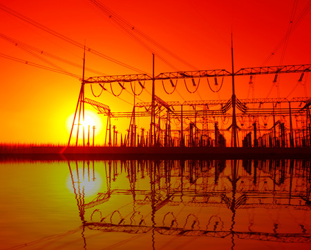 power distribution substation in the evening