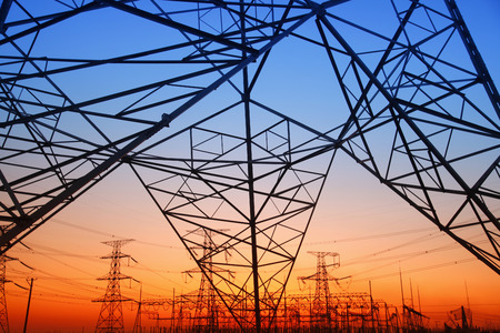 power supply: The power supply facilities in the evening Stock Photo