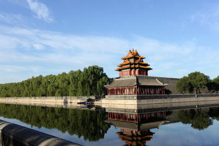 turrets: The Forbidden City turrets, under the blue sky white clouds, very beautiful