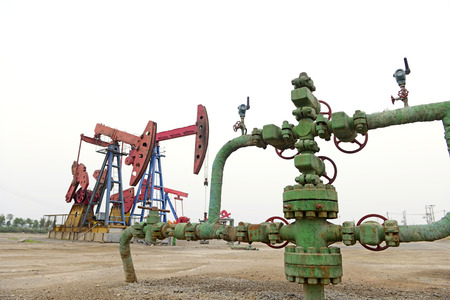 mechanical works: The oil pump Stock Photo