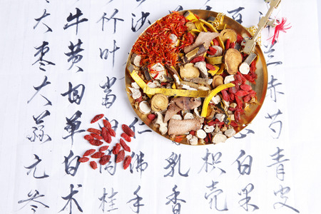 Traditional Chinese medicine and the prescription Stock Photo