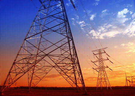redes electricas: Pylon outline in the beautiful evening