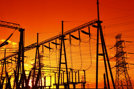 electrical tower: The power supply facilities of contour in the evening, it is very beautiful