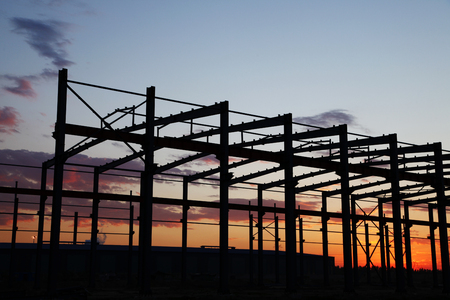 steel structure: the silhouette of steel structure during evening