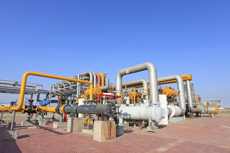 chemical engineering: oil pipelines and facilities Stock Photo