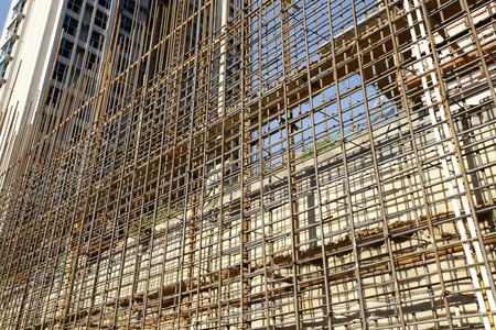 infrastructure buildings: Steel grid on the construction site