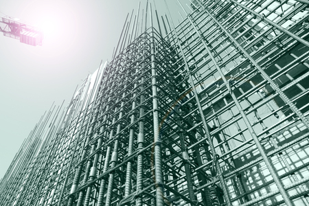 Steel grid on the construction site