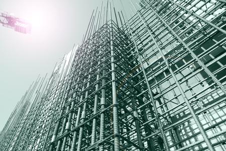 Stål rutnät på byggarbetsplatsen Stockfoto