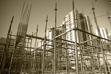 building structure: Steel grid on the construction site
