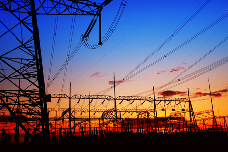 power industry: The evening of the pylon outline, is very beautiful Stock Photo