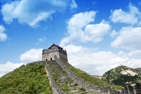 greatwall: The Great Wall of China, under the blue sky white clouds Stock Photo
