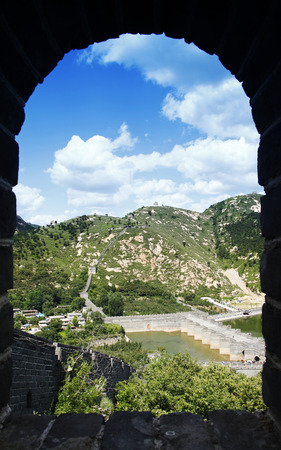 The Great Wall of China, under the blue sky white clouds, very beautiful