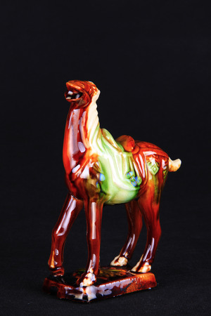 tricoloured: tri-coloured glazed pottery of the Tang Dynasty, Tang sancai glaze horses Editorial