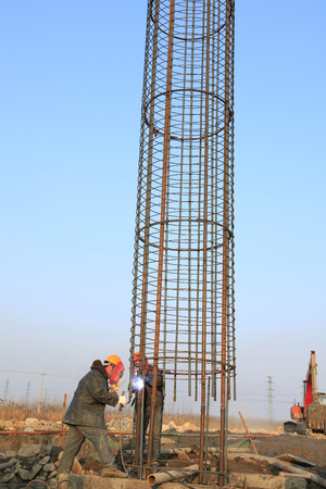piling: Bridge construction under performing the steel reinforcement of piling work