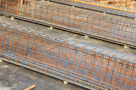 worksite: Steel grid on the construction site