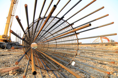 Bridge pile reinforcement structure Stock Photo