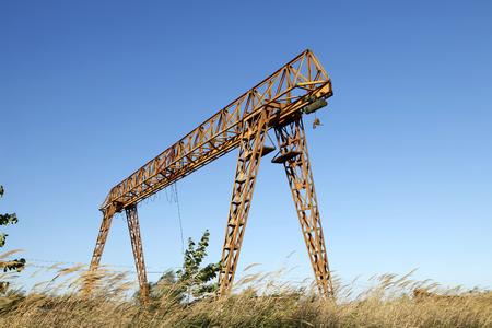 gantry: Gantry crane, under the blue sky