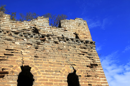 the great wall and the fall: In autumn, the Great Wall of China Stock Photo