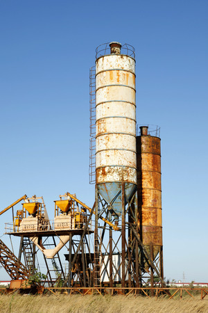 the facility: Concrete mixing tower. Concept of on-site construction facility.
