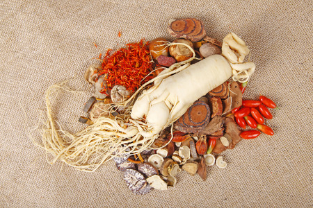 apricot kernels: Traditional Chinese medicine and ginseng, close-up Stock Photo