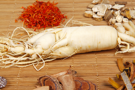angelica sinensis: Traditional Chinese medicine and ginseng, close-up Stock Photo