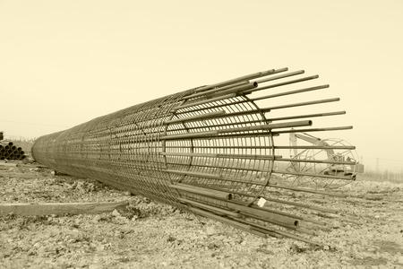 reinforcement: Bridge pile reinforcement structure Stock Photo