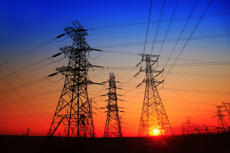 isolator high voltage: The evening of the pylon outline Stock Photo