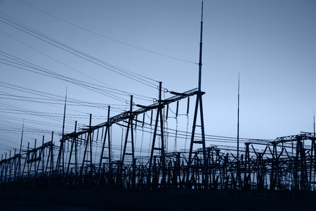 mains: The power supply facilities of contour in the evening