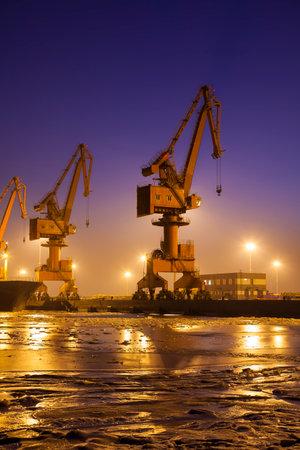 wharf: Cargo wharf crane at night