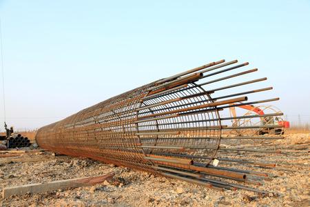 structure: Bridge pile reinforcement structure Stock Photo