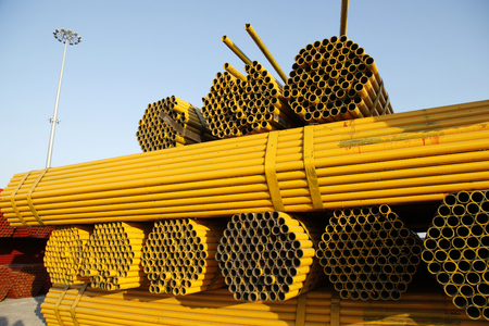 steel pipe: Steel pipe piled up together Stock Photo