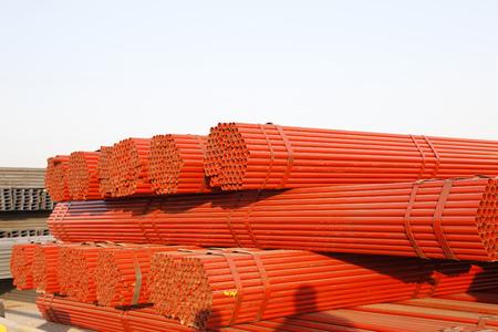 bundling: Steel pipe piled up together Stock Photo
