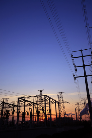 mains: In the evening, the outline of substation