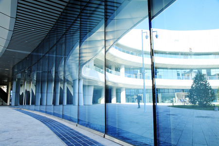 Glass curtain wall of modern office building Editorial