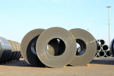 ironworks: roll steel in harbor, Cold rolled steel coils