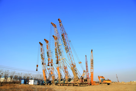 undercarriage: Crawler crane in the construction site