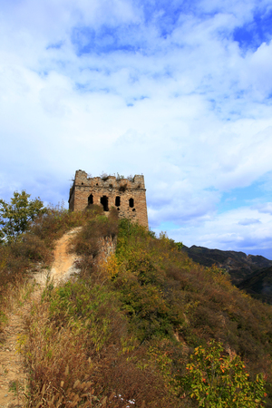 In autumn, the Great Wall of China Stock Photo