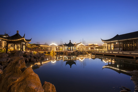 Night at traditional Chinese architecture, jiangnan pavilions