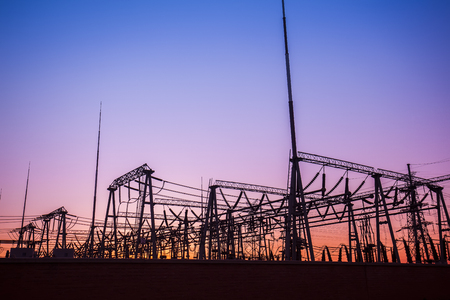 substation: Outline of substation in the evening