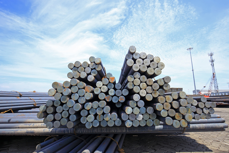steel bar: Stack of round steel bar