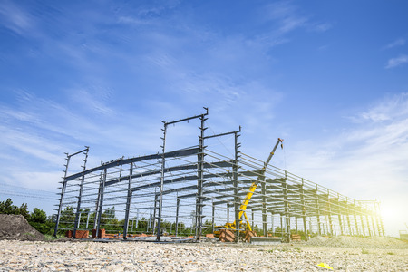 Construction site, steel frame structure is under construction Editorial