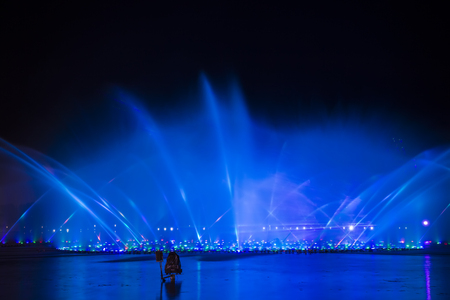 water spray: Music fountain at night Editorial