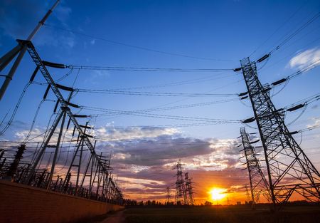 Landscape view of pylon during dusk