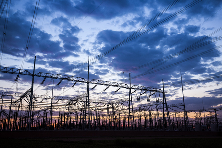 The outline of substation in the evening Stock Photo