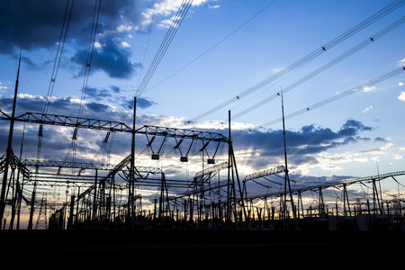 mains: The outline of substation in the evening Stock Photo