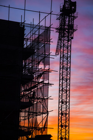 buildingsite: Construction site in the evening