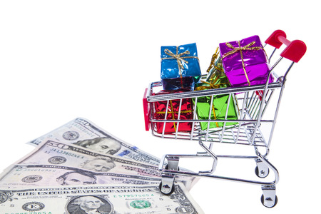 Present in the shopping cart Stock Photo