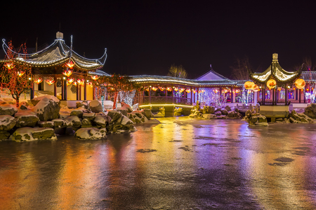Chinese traditional buildings at night Editorial
